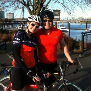 Dr. Kevin Ostrowski, Seattle urologist, with wife on bicycles