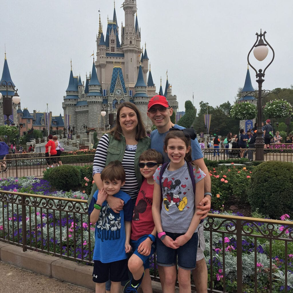 Dr. Amy Criniti, Bellevue fertility specialist, with family at Disney Land
