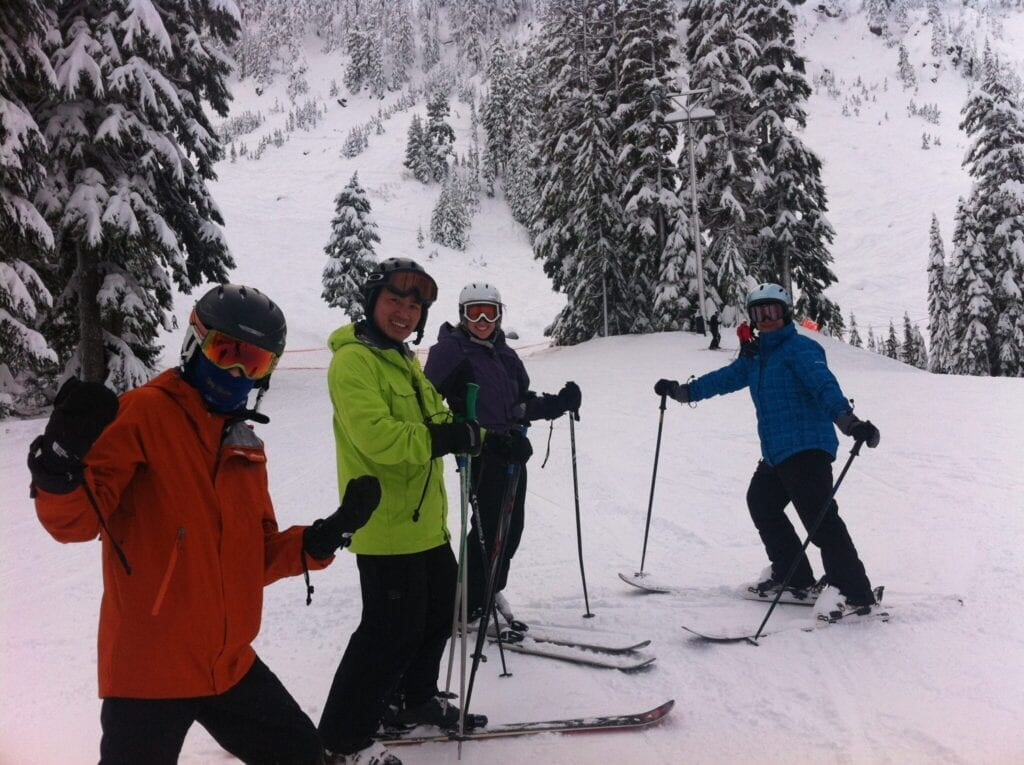 Seattle reproductive surgeon Dr. Paul Lin skiing with family